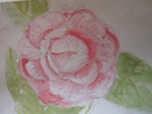 Watercolour painting chosen to be developed into silk painting